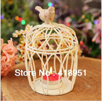 Wholesale Bird cage candle holder for wedding decoration home decorative wrought iron bird cage lantern Round