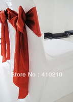 Wholesale White spandex lycra chair cover with Red satin chair sash chair bow gsm