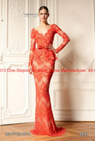 Wholesale 2013 New Zuhair Murad V Neck Long Sleeves Chiffon Prom Dresses Orange Lace Mermaid Evening Skirt
