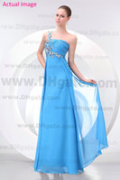 Model Pictures One-Shoulder Chiffon Aqua Blue One Shoulder Chiffon Prom Dresses Crystal Strapless Ruched Sequin Crystal Floor Length Modern