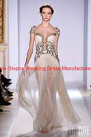 Reference Images Off-Shoulder Tulle 2013 Hot Zuhair Murad Cap Sleeves Gold Appliqued Pleated Prom Gown Tulle Champagne Evening Dresses