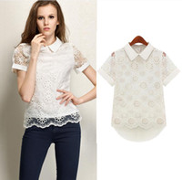 Wholesale Hot Europe Women s Fashion Orangza Tops Blouse Peter Pan Collar Hollow Out Flower Lady s Lace Chiffon Blouse White