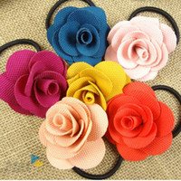 Wholesale Mix color Big Flower Elastic Hairband Fashion Cloth Hair Accessories Women s Hair Ornaments