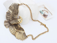 South American alloy spray paint - New Arrival Chkuny Gold Chain Vintage Gold Silver Hawk Eagle Wing Spray Paint Pendant Cool Bib Choker Necklace GB2