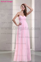 Model Pictures Ruffle Sleeveless 2013 Simple Light Pink Sweetheart Chiffon Junior Bridesmaid Dresses Ruched Floor Length Party Dresses