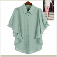 Short Sleeve   2013 new Slim casual European-style double-flounced chiffon Blouse solid color Hot Trendy Cozy Women Noble Clothes Loose Tops s1311 10by DHL