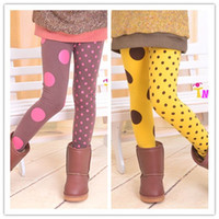 Wholesale Spring autumn winter kids girls polka dots fur leggings baby girl korea style tights legging pants years children s colors