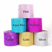 Wholesale 4 quot yard Wedding Favor Decoration Diamond Mesh Ribbon Roll Crystal Wrap