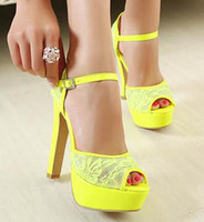 Women Platform Heel synthetoc suede Wholesale Sandals 3 Colors Fluor Green High Platform Lace Heels Women Newest Color Fashion Shoes