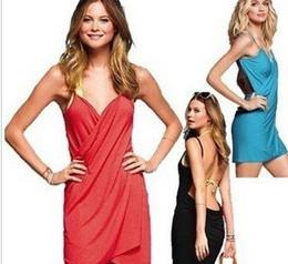 Wholesale - Saress Bikini Wrap Dress Cotton Dress Women's Sarong Bikini cover-ups Cross Beach dres