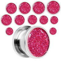 Wholesale free ship mixed Flamingo Pink Glitter printed body piercing ear plug tunnel ear jewelry
