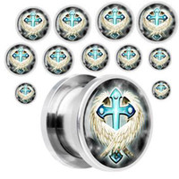 Wholesale mixed sizes printed embraced cross ear tunnels plugs l ear piercing body jewelry
