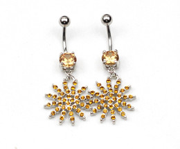 Wholesale bloom yellow flower shiny navel belly ring shiny body piercing jewelry