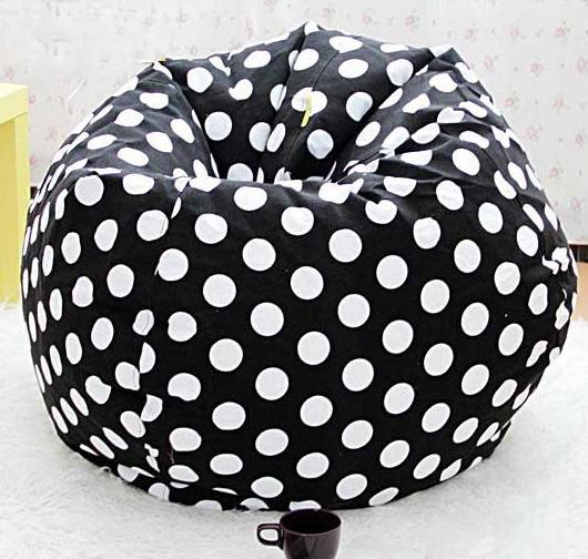 black dots round beanbag lounge large comfort bean bag chair washable bean seat from recome dhgatecom - Black Bean Bag Chair