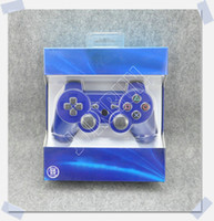 Wholesale 1pc New Blue Version Wireless Bluetooth Controller For PS3 Colors Available Real SixAxis Joysticks in stock Blue retail Box Airmail