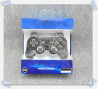 Wholesale 2014 New Blue Version Wireless Bluetooth Controller For PS3 Real SixAxis Joystick Joysticks In Blue Retail Packaging DHL A Quality A