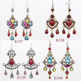 Wholesale Mixed ancient earrings Bohemian four styles Fashion jewelry for girls LM E157