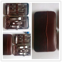 Wholesale manicure set grooming set with stone pattern lether case