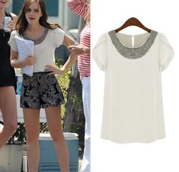 Hot Europe Fashion Women's Tops Beads Collar Ruffled Short Sleeve Chiffon Blouse C2521