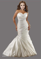 Wholesale Hot Sale NEW Sexy Plus Size Wedding Dresses Mermaid Sweetheart Satin Appliques Wedding Dress Gowns Bridal