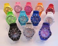 Wholesale FASHION Unisex Jelly Candy Dial Quartz Wrist Silicone Watch bangle NEW