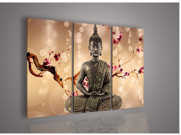 3 Pcs Wall Art Religion Buddha Antique Style Painting Canvas