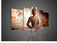Oil Painting Unframed  5 Panel Wall Art Religion Buddha Oil Painting On Canvas Office Decor Artwork
