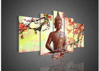Oil Painting Unframed  5 Panel Wall Art Religion Buddha Oil Painting On Canvas No Framework Pictures Decor