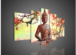 Wholesale 5 Panel Wall Art Religion Buddha Oil Painting On Canvas No Framework Pictures Decor
