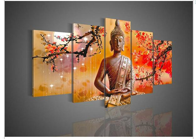5 Panel Wall Art Religion Buddha Oil Painting On Canvas Picture Picture For Home Decor