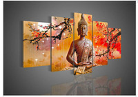 Wholesale 5 Panel Wall Art Religion Buddha Oil Painting On Canvas Picture Picture For Home Decor