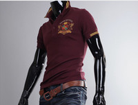 Men Polo Fashion Tee Hot sell !!!men's t-Shirts Mens Casual Pegasus embroidery Slim Short Sleeve T-shirts wine red