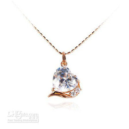 Charming Big Stone( 12*12 mm) Pendant Necklace Heart Shaped (Rose gold ) with Matching Chain