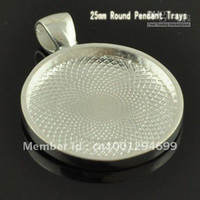 Wholesale 1 INCH Sterling Silver Plated Round Blank Tray Pendants Blank Bazel Settings Blank Pendant Trays F