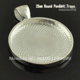 Wholesale 1 INCH Sterling Silver Plated Round Blank Tray Pendants Blank Bazel Settings Blank Pendant Trays F