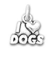 Wholesale a alloy antique silver plated I love dogs charms jewelry