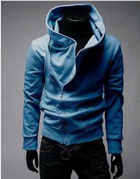 High collar Hoodies top Men's Hoodies Sweatshirts oblique zipper hooded Fashion sports hoodies