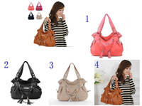 Wholesale 2015 Shoulder Bags No Brand Grey Black Pink Brown Women Plain Pu Special Offer Hot Female Bag Fashion Tassel Handbags