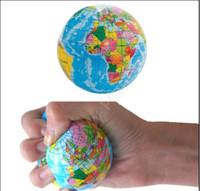 Wholesale World Map Foam Earth Globe Stress Relief Bouncy Ball Atlas Geography Toy