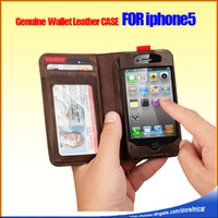 Wholesale Genuine Flip Leather Wallet Antique Book Style Case for iPhone G Brown Color