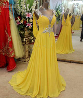 Real sample v- neck party dresses long yellow chiffon evening...