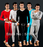 Men other other Male long johns modal V-neck t-shirt thermal underwear set thin mens long johns sexy men tight pouch underwear