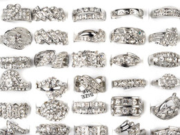 Wholesale Silver Plated Ring CZ Rings Crystal Bulk Rings Fashion Ring Costume Rings Wedding Rings Jewelry Free CZ48