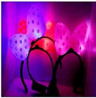 Wholesale LED Flash Hair Clips Minnie Mickey Hairpins Head Hoop Flash luminous Bow Hair Band Hair Pins for Kids Toy mix color