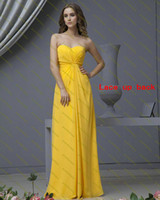 Sleeveless Sweetheart Sheath/Column 2014 New Chic Fashion Sweetheart Neckline Yellow Chiffon Floor Length Sheath Greek Goddess Wedding Bridesmaid Dresses Corset Party Gowns
