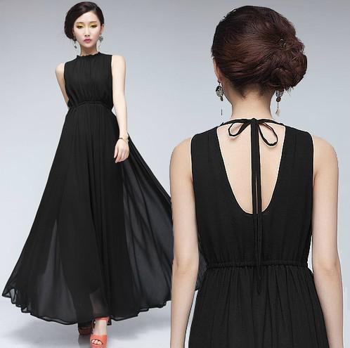 Womens Dresses Ladies Halter Backless Chiffon Dress Maxi Dress ...