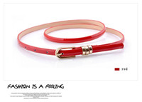 Wholesale Fashion belts candy color patent leather belt ladies thin waist leather belt