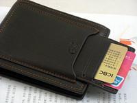 Wholesale Men Leather Purse soft Men s Pockets Credit Cards bag clutch Wallet Black QB01