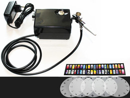 Wholesale Salon Airbrush Nail art system compressor kit with airbrush Stencil AC01BKN