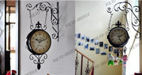 Quartz Analog   LLFA334 Wrought Iron Wall Clock Fashion Nostalgic Vintage Double-Faced Clock Silent Movement Antique Iron Double Faced Clocks Home